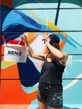 Julia Benz painting walls